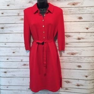 St John Marie Gray vintage red Santana Knit dress